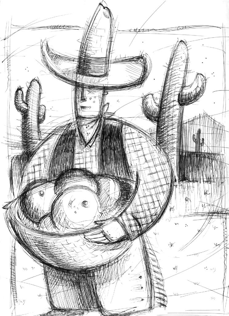 Cow boy sketch